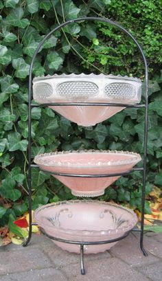 Upcycled Vintage Light Shades Tiered Serving Storage Wrought Iron Outdoors Plant Stand Feeder