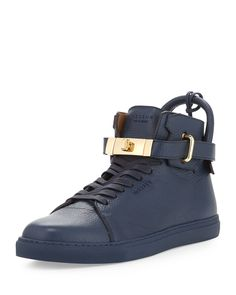 Buscemi Leather High-Top Sneaker w/ Gold-Plated Hardware, Ocean Blue Suede Sneakers, White Sneakers, High Top Sneakers, Men's Shoes, Shoe Boots, Nike Shoes Air Force, Men Store, Leather High Tops, Loafers Men