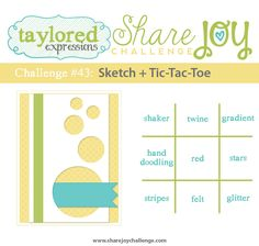 Share Joy Challenge: Share Joy Challenge 43 - Sketch and Tic-Tac-Toe Cute Cards, Diy Cards, Hand Doodles, Page Layout, Layouts, Fancy Fold Cards, Tic Tac Toe, Scrapbook Cards, Scrapbooking