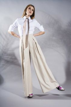 Silk and Cotton Palazzo Pants www.framboise.ro