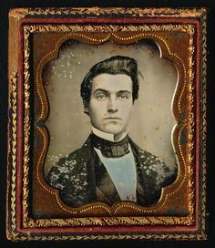 1 6 Plate Daguerreotype Hunky Dude in Worn Book Style Case Super Hair Style | eBay