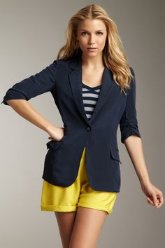 Yellow and navy - not in love with the shorts... but like the colors and the basic idea.