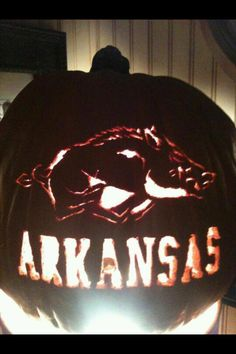 Awesome Razorbacks carved pumpkin