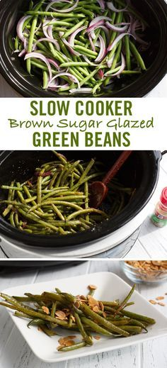 Green beans get an upgrade with this delicious slow cooker side dish recipe. Cooked with butter until tender, a glaze of garlic and onion powders, brown sugar and soy sauce creates perfectly sweet green beans. Sprinkle with toasted, sliced almonds - and red pepper - if you like a bit more heat. Perfect for a spring side dish or last-minute Easter dinner recipe.