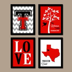 Texas Tech University Collage - Cute! i'm envisioning a dual TTU + UH spread now... keep the double T and the LOVE, add UH and Go Coogs to the state and move it up, and add a UH logo in the bottom right. Gray and red UH on black and white chevron. Adorable, right?