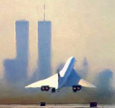 British Airways's daily Concorde flight 004 to LHR. Concorde can be seen departing Runway at JFK with the WTC in the hazy backdrop. Unfortunately two things that are no more. Concorde, World Trade Center Nyc, Trade Centre, Sud Aviation, Airplane Fighter, Passenger Aircraft, Commercial Aircraft, British Airways, Air France