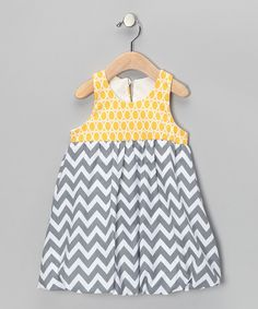 Take a look at this Yellow & Gray Zigzag Bubble Dress - Girls on zulily today!