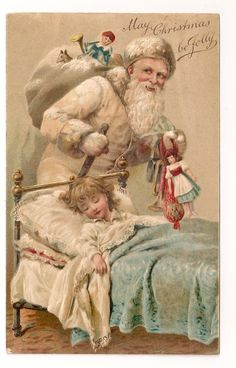 Santa Father Christmas Postcard 1909 White Robe Leaves Doll for Sleeping Girl | eBay