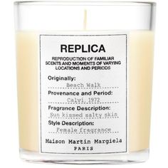 Maison Martin Replica Beach Walk Candle ($60) ❤ liked on Polyvore featuring home, home decor, candles & candleholders, beach walk, maison margiela, scented candles, sea home decor, ocean home decor and fragrance candles
