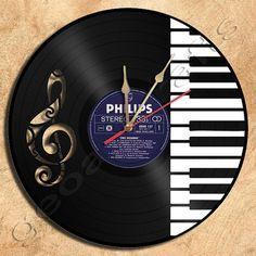 Wand Uhr PianoTheme Vinyl Record Uhr Heimtextilien von geoartcrafts
