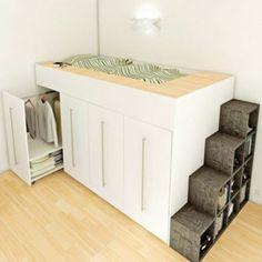 une jolie chambre à coucher avec un lit gain de place