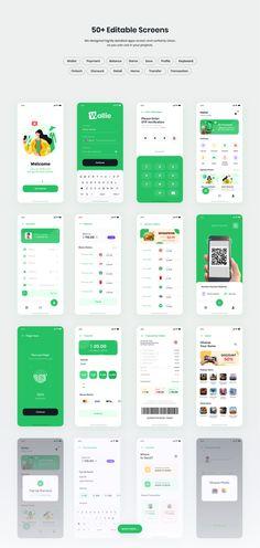 Wallie - Digital Wallet App UI KIT — UI Kits on UI8 Application Ui Design, Application Mobile, Web Design, App Ui Design, Logo Design, App Design Inspiration, Ui Kit, Conception D'applications, Budget App