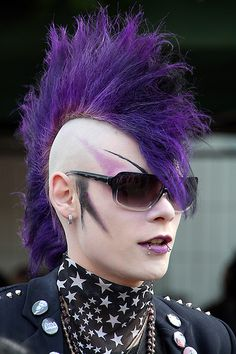 purple mohawk....wanted one when I was young....never had the balls to do it ...regret that