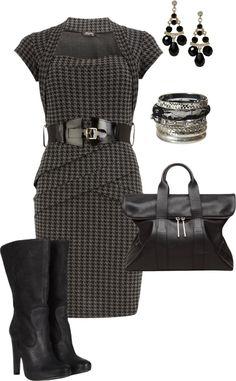 """houndstooth print dress"" by missyalexandra on Polyvore"