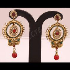 copper based polki earrings one gram gold plated