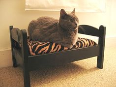 cat bed made with ikea's duktig doll's bed