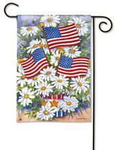 Patriotic House Flag features colorful white daisies and USA flags displayed in red, white and blue patriotic container by Artist Kathleen Parr McKenna. Perfect of July Flag. Patriotic Summer House Flag Measures x Memorial Day Flag, Us Flags, Flags For Sale, Thing 1, Patriotic Decorations, Patriotic Flags, Flag Decor, Garden Flags, Woodstock