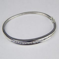 1ctw Channel Set Diamond Hinged Bangle Bracelet 14 KT White Gold 6 ...