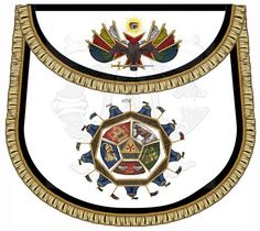 """""""The Camp"""" Scottish Rite 32nd Degree Apron. The art on the apron body represents the Encampment of Sublime Prince of the Royal Secret. 100% lambskin apron body with bullion fringe trim."""