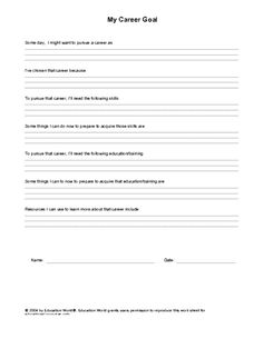 Printables Career Exploration Worksheets For Highschool Students career education and future jobs on pinterest world goal template