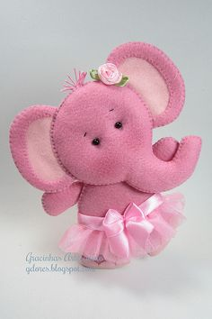 baby elephant ballerina in felt. Baby Crafts, Felt Crafts, Fabric Crafts, Crafts For Kids, Fabric Art, Felt Patterns, Stuffed Toys Patterns, Craft Projects, Sewing Projects