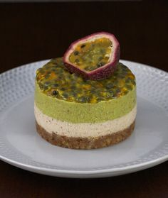 raw mini passionfruit cake with nuts, avocado and passion fruit