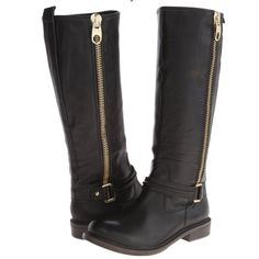 """New Zigi Girl Black Leather Riding Boots 100% Authentic new without box Zigi girl black leather boots. Man made sole. Shaft height: approx. 15"""", circumference: approx. 15"""" heel height: approx.: 1"""". Note that this is a display pair and may show minimal signs of wear from being tried on and displayed. Zigi Girl Shoes Heeled Boots"""