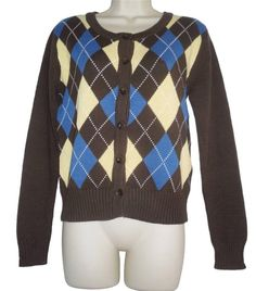 Brown Rockabilly Retro 40s 50s Knit Argyle Cardigan Small Med Large New Wool Mix