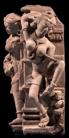 Architectural relief depicting two celestial female figures (Surasundaris), 10th -11th century, Madhya Pradesh, India