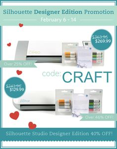 Save on Silhouette Designer Edition Software with code: CRAFT  {more details here: http://www.craftaholicsanonymous.net/cameo-giveaway-designer-software-discount}