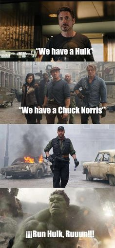 Hulk vs. Chuck Norris. Two of my favorite movies! The expendables 2 and the avengers.
