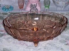Vintage Pink Indiana Glass Garland Harvest Fruit Bowl Console, via Flickr.