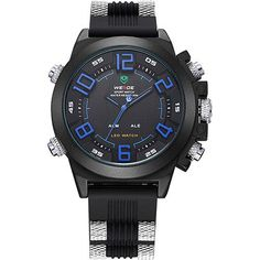 WEIDE Silicone Digital LED Watch Multi-functional Dual Time Zones Display