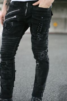 Black Denim Enduro Pant by BoneBlack on Etsy