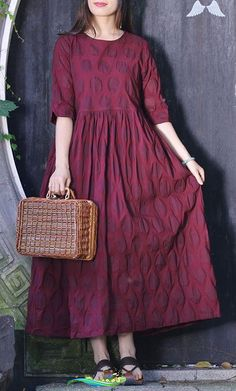 Elegant o neck half sleeve cotton clothes Stitches Neckline burgundy dotted Traveling Dress Summer<br> Linen Dresses, Cotton Dresses, Casual Dresses, Fashion Dresses, Summer Dress Outfits, Summer Dresses For Women, Dress Summer, Wedding Dress Silhouette, Pakistani Fashion Casual