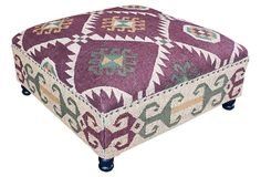 Eloise Kilim Upholstered Ottoman on OneKingsLane.com