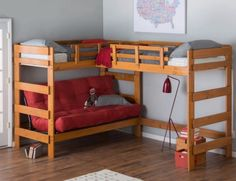 Loft Bed Frame For Kids Teens Girls Boys Triple Bunk Beds Wood On Sale Twin Set #WoodcrestHeartlandFurniture
