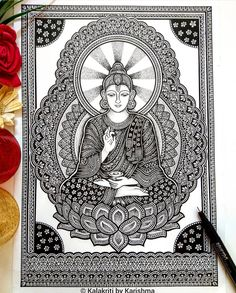 After spending more than it's complete now! It has turned out to be exactly how I had visualised and planned.☺️ Please swipe to… Mandala Art Lesson, Mandala Artwork, Mandala Painting, Worli Painting, Doodle Art Drawing, Dark Art Drawings, Mandala Drawing, Buddha Painting, Buddha Art