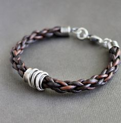 "Mens Bracelet Braided Leather with Sterling Silver ""Spinner"" Tube"