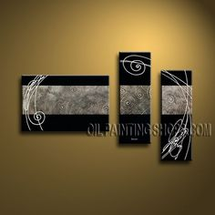Huge Modern Textured Painted Wall Art Hand Painted Oil Painting Stretched Ready To Hang Abstract. This 3 panels canvas wall art is hand painted by Bo Yi Art Studio, instock - $135. To see more, visit OilPaintingShops.com