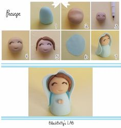 step by step Polymer Clay Figures, Fimo Clay, Polymer Clay Projects, Clay Crafts, Christmas Topper, Polymer Clay Christmas, Jumping Clay, Nativity Crafts, Cute Clay