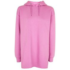 Topshop Longline Hoodie (2.220 RUB) ❤ liked on Polyvore featuring tops, hoodies, topshop, oversized hoodie, cotton hoodie, pink top, cotton hoodies and longline tops