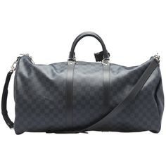 Pre-Owned Louis Vuitton Keepall 55 Bandouliere Damier Graphite Coated... (€1.310) ❤ liked on Polyvore featuring bags, luggage and black