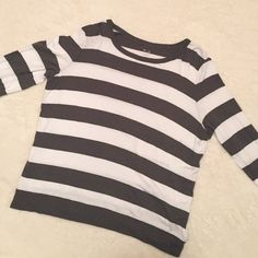 Gap Olive and White Striped Super Soft Tee only worn once! in perfect condition- super cute and comfortable with buttons on the sleeves (the white is not pure/bright  white because it has been washed) GAP Tops Tees - Long Sleeve