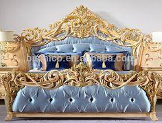 Источник Luxury Italian Style Gold Leaf Мебель для спальни, дворец в стиле барокко Стиль Бежевый King Size Bed на m.alibaba.com