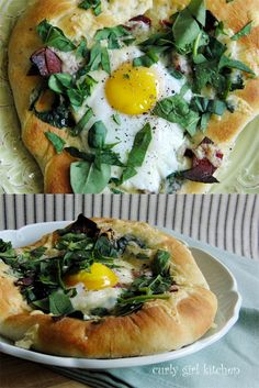 Breakfast Pizza with Turkey Bacon and Spinach, Fontina and Gruyere, and an Egg...by curlygirlkitchen #Breakfast_Pizza #curlgirlkitchen