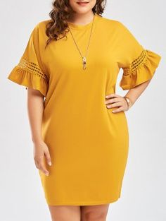 Plus Size Flare Sleeve Cutout Cocoon Tee Dress - Ginger Trendy Plus Size Clothing, Plus Size Fashion For Women, Plus Size Dresses, Plus Size Women, Plus Size Outfits, Short African Dresses, Latest African Fashion Dresses, Short Sleeve Dresses, Halter Dresses