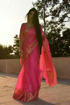 Pink sari with gold border classic Saree Blouse Patterns, Saree Blouse Designs, Sari Blouse, Saris, Indian Dresses, Indian Outfits, Simple Sarees, Saree Photoshoot, Saree Trends