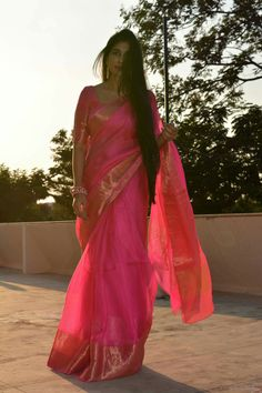 Pink sari with gold border #classic