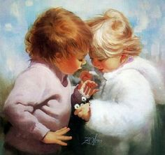 Early Childhood : Donald Zolan Paintings of Heartwarming Childhood Innocence - Tiny Treasures , Early Childhood of Innocence an. Illinois, Artists For Kids, Art For Kids, Tiny Treasures, Child Love, Child Art, Painting For Kids, Painting People, Children Painting